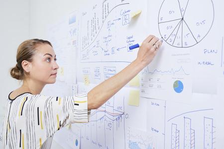 Diagramme de cercle de dessin de femme d'affaires