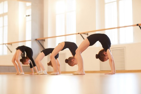 Girls doing Gymnastics