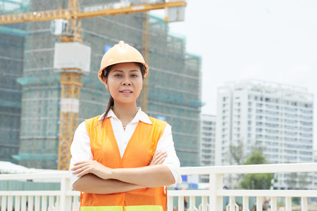 Female engineer at construction site Stockfoto