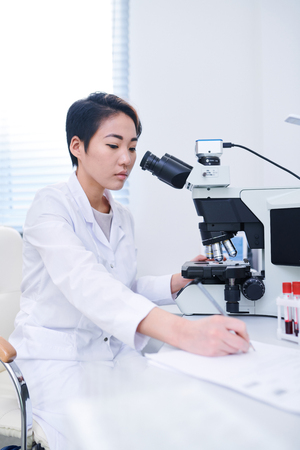 Asian biologist studying cells with microscope