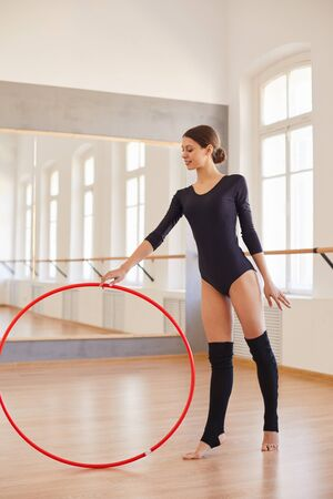 Using hoop in gymnastics Banco de Imagens
