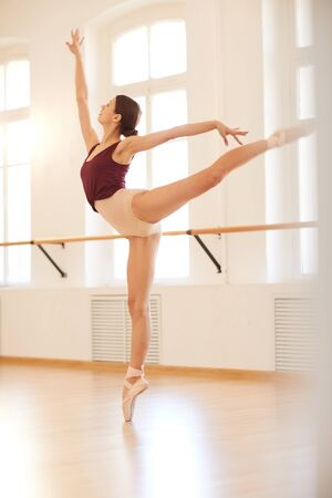 Ballerina training in studio