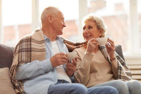 Senior Couple Enjoying Tea Stok Fotoğraf