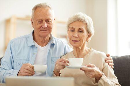 Couple de personnes âgées regardant des vidéos