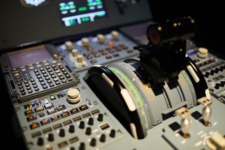 Thrust levers in cockpit