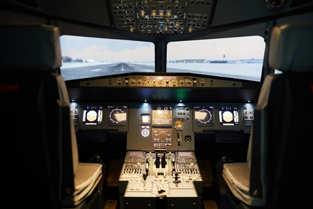 Modern flight deck with illumination 스톡 콘텐츠