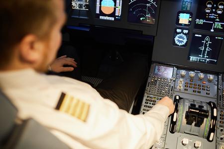 Airline pilot checking setups