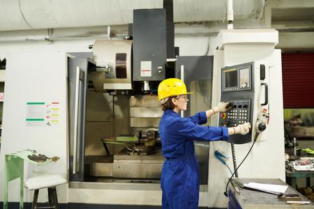 Worker Using Machine Units