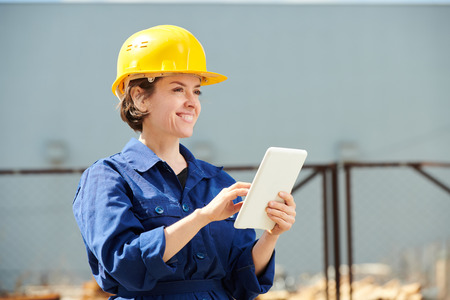 Smiling Female Worker Outdoors
