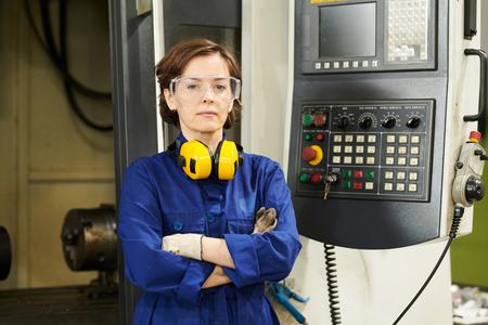 Woman Posing at Factory