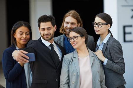 Group selfie of business team