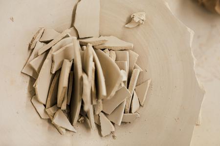 Ceramic shards in broken plate