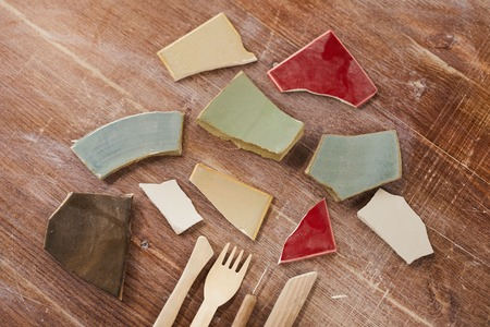 Colorful ceramic shards Stock Photo
