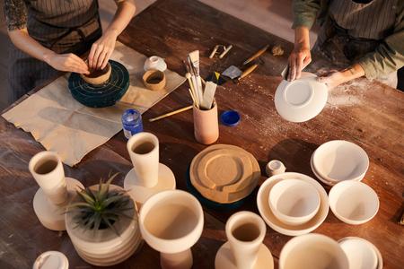 Artisans working with ceramics Stock Photo - 123550357
