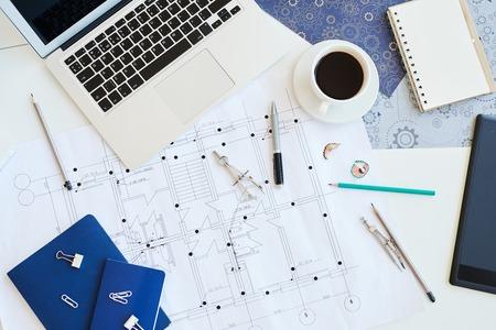 Housing plan blueprint on desk Фото со стока