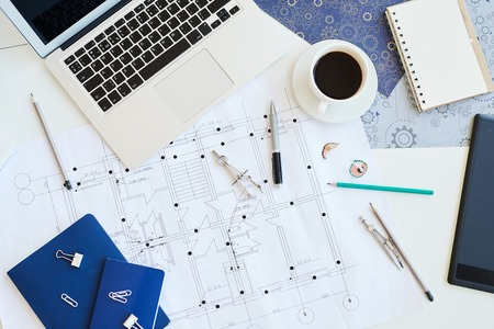 Housing plan blueprint on desk Stock Photo - 124771872