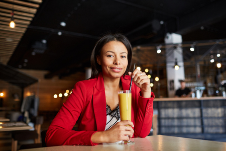 Woman in Food Court Stock Photo