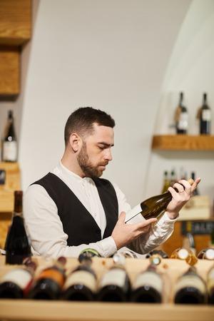 Sommelier in Wine Cellar Фото со стока
