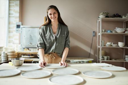 Smiling Female Ceramist Stock Photo