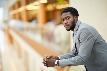 Serious young black manager Stock Photo