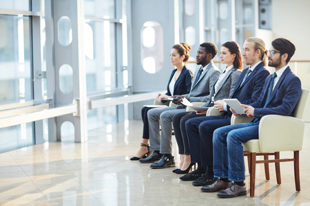 Business employees watching presentation Stock Photo