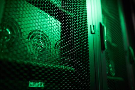 Cabinet of GPU mining rigs Banco de Imagens