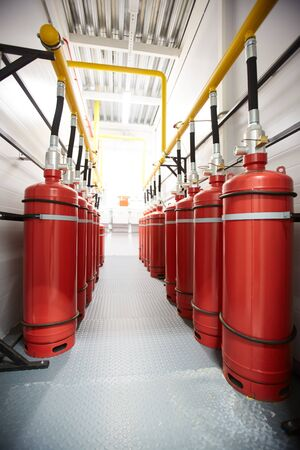 Air tanks in industrial room Stock Photo