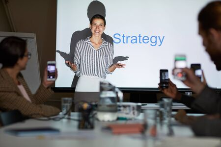 Lady conducting strategic planning meeting Stok Fotoğraf