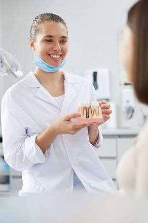 Portrait of smiling female dentist holding tooth model while consulting patient in clinic, copy space