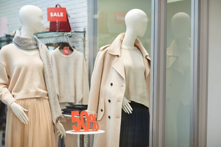 Background image on Autumn window display in clothes store with SALE signs, copy space