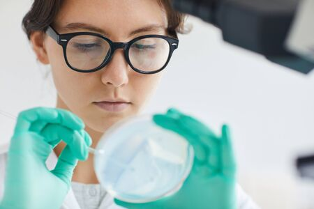 Close up portrait of beautiful young woman holding petri dish while working on research in medical laboratory, copy space