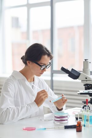 Side view portrait of beautiful young woman working in laboratory, preparing test samples in petri dish for microscope research, copy space Фото со стока