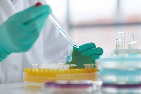 Close up of unrecognizable scientist preparing test samples while working on research in medical laboratory, copy space