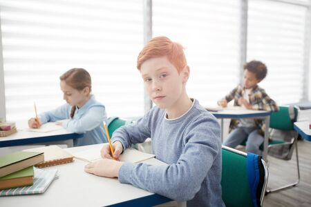 Portrait of modern red-haired schoolboy sitting at desk in classroom and looking at camera while taking notes, copy space