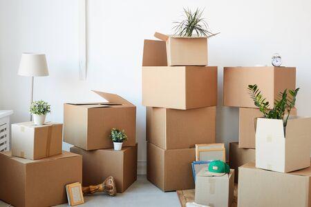 Image de fond de boîtes en carton empilées dans une pièce vide avec des plantes et des effets personnels à l'intérieur, concept de déplacement ou de relocalisation, espace de copie