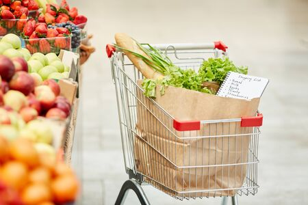 Background image of shopping cart with fresh groceries in supermarket, copy space, no people