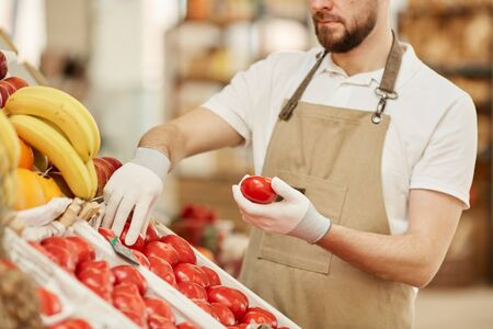 Cropped portrait of bearded man holding fresh organic tomatoes while selling local produce at fruit and vegetable stand in farmers market, copy space