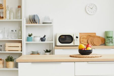 Background image of contemporary kitchen interior with minimal design and wooden elements, copy space