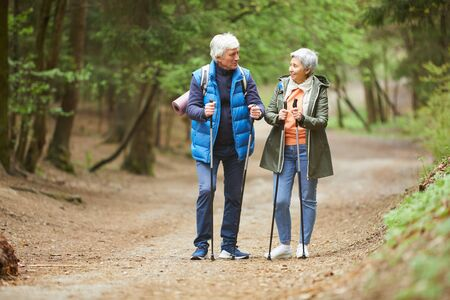 Full length portrait of active senior couple looking at each other and smiling while enjoying Nordic walk during hike in autumn forest, copy space Banque d'images