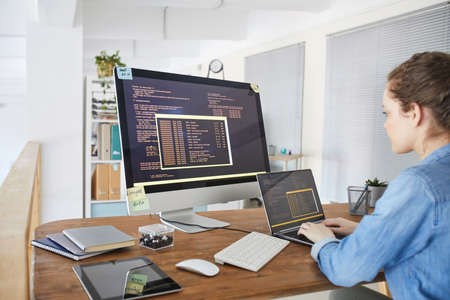 Portrait of female IT developer typing on keyboard with black and orange programming code on computer screen and laptop in contemporary office interior, copy space Standard-Bild
