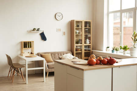 Horizontal no people shot of modern apartment room interior in daylight with ripe pumpkins lying on table, copy space