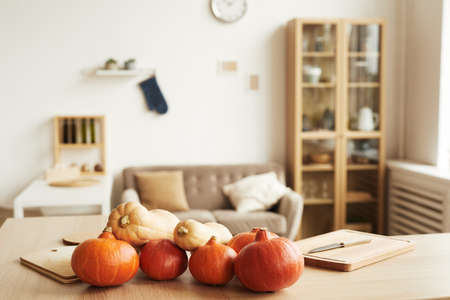 Horizontal no people shot of modern apartment living room interior with fresh ripe pumpkins lying on table, copy space 写真素材