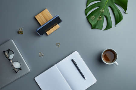Minimal above view flat lay of tropical leaf and business accessories over grey workplace background, copy space