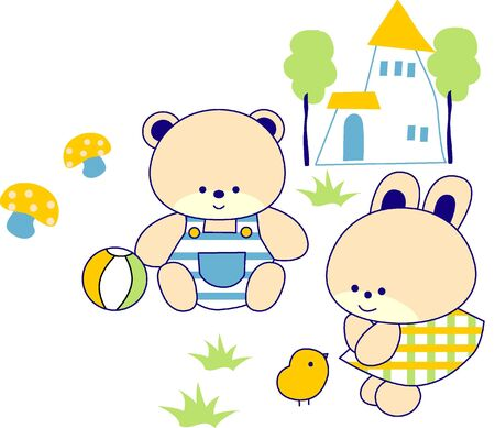 cartoon bear and rabbit