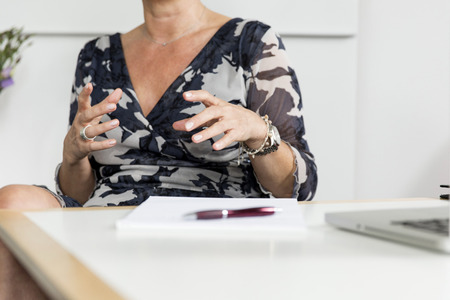 doctoral: Hands (woman) gesturing in conversation  Stock Photo