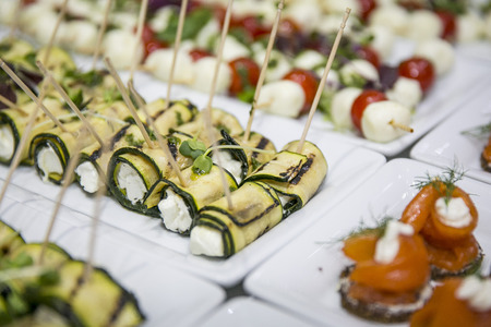 Zucchini rolls on buffet  catering