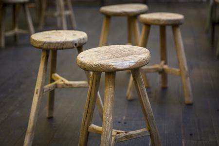 木製スツール レストラン 写真素材