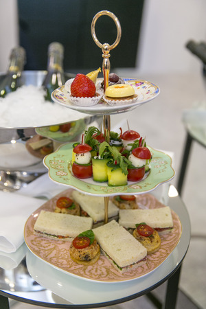 patisserie: Zucchini rolls, tomato and patisserie with champagne  Catering