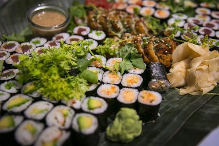 ビュッフェ式ケータリング寿司 写真素材