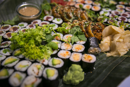 appetizers: Sushi on buffet catering